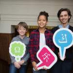 Pictured at the launch of the national Problem-Solving Initiative (www.problemsolving.ie) at Government Buildings are Alex Harding of Maynooth Post-Primary, and Finn Corcoran and Juliette Kodia of Rush and Lusk Educate Together National School.